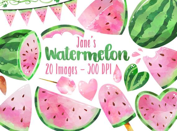 Watercolor pink download instant. Watermelon clipart picnic item