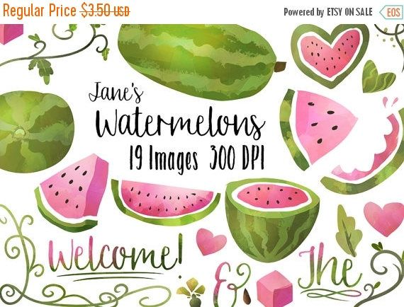 Watercolor download . Watermelon clipart picnic