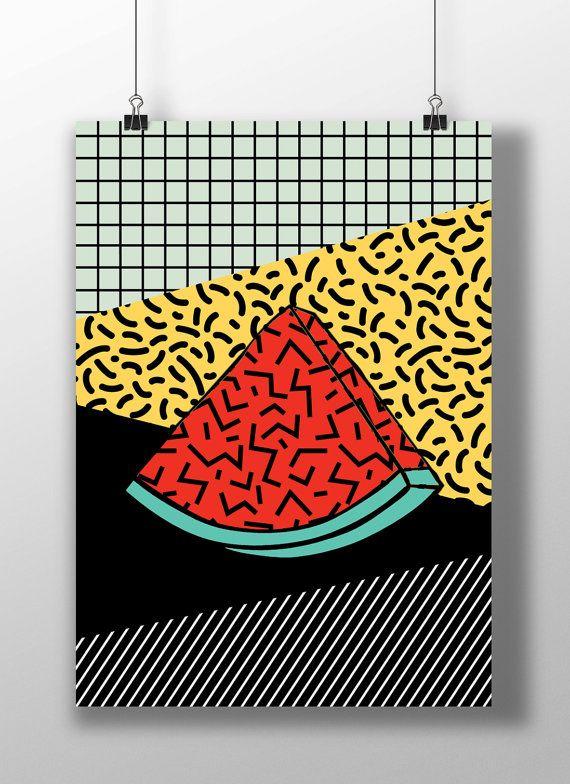 Print fruit funky abstract. Watermelon clipart pop art