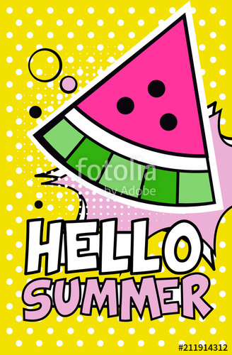 Watermelon clipart pop art. Hello summer banner bright
