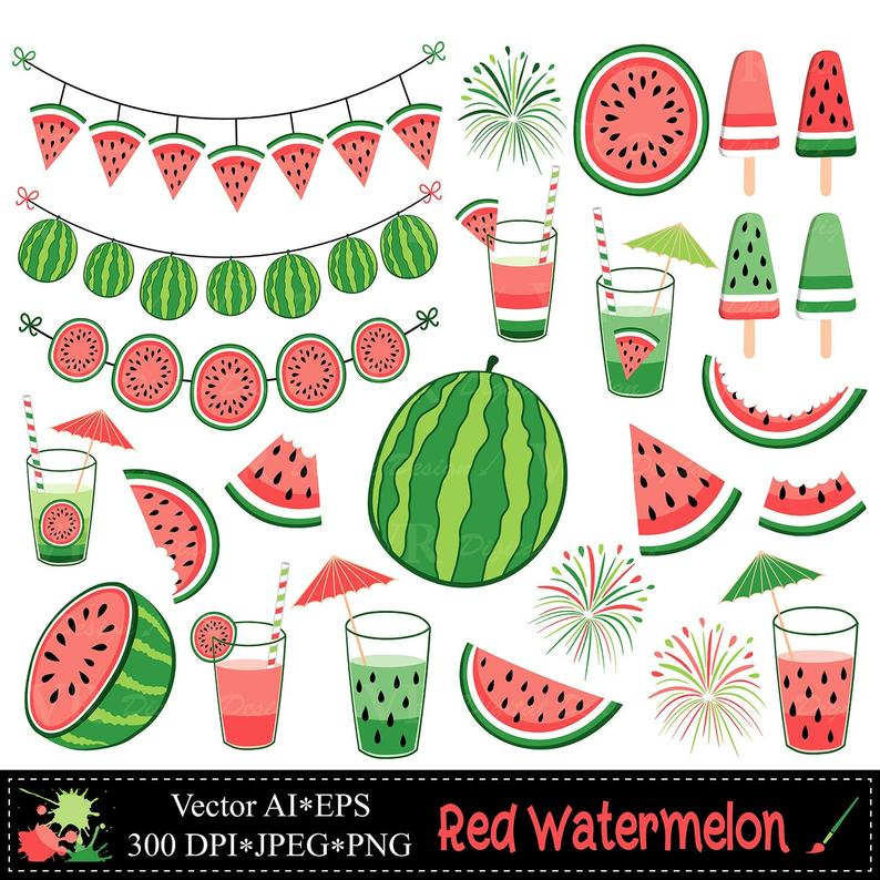 Summer fruit illustrations watermelons. Watermelon clipart red watermelon