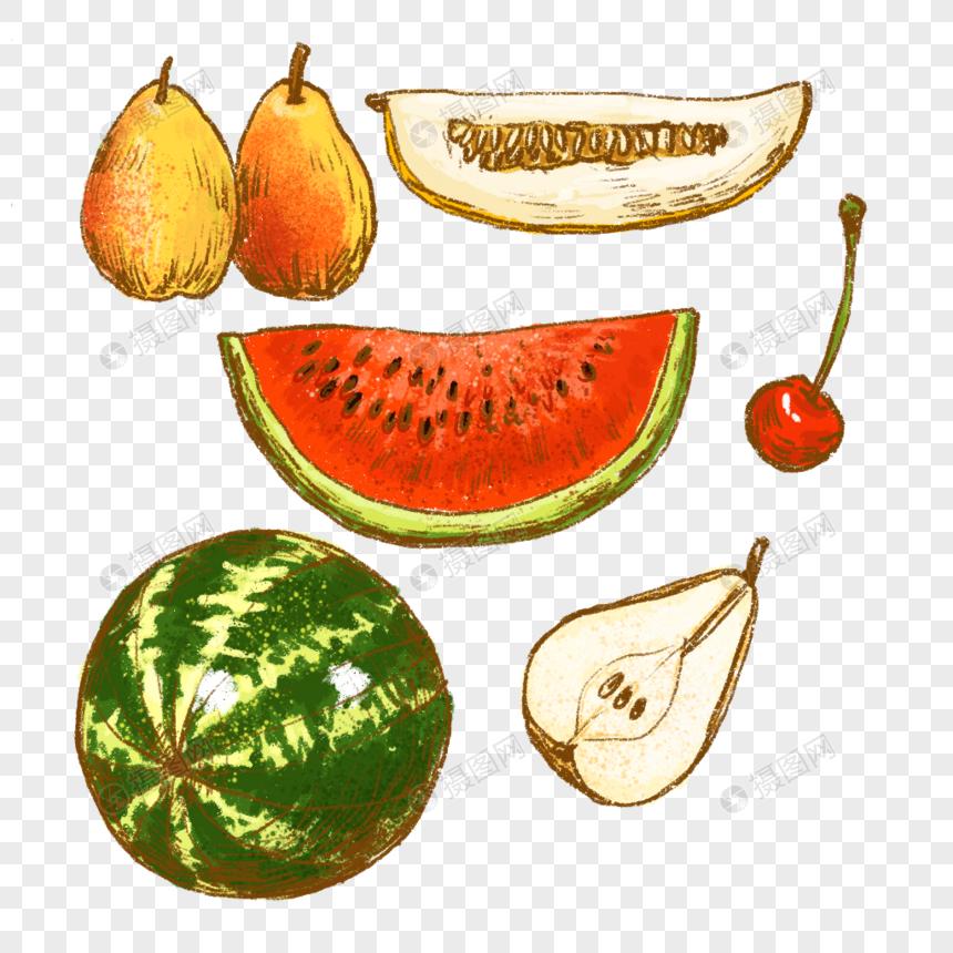 Buah semangka pir ceri. Watermelon clipart sihat