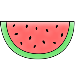 Cartoon drawing youth jewelry. Watermelon clipart simple