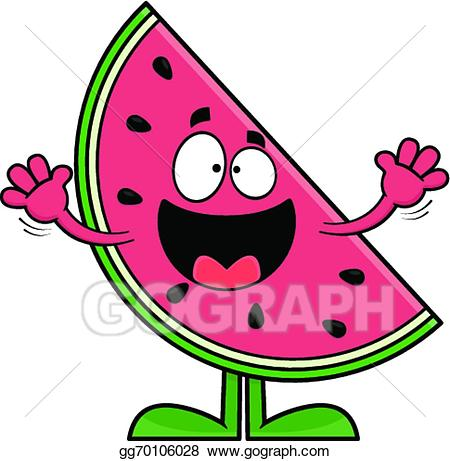 Vector art smiling cartoon. Watermelon clipart smile