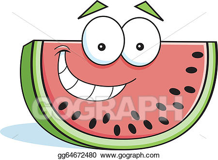 Watermelon clipart smiling watermelon. Vector stock cartoon illustration
