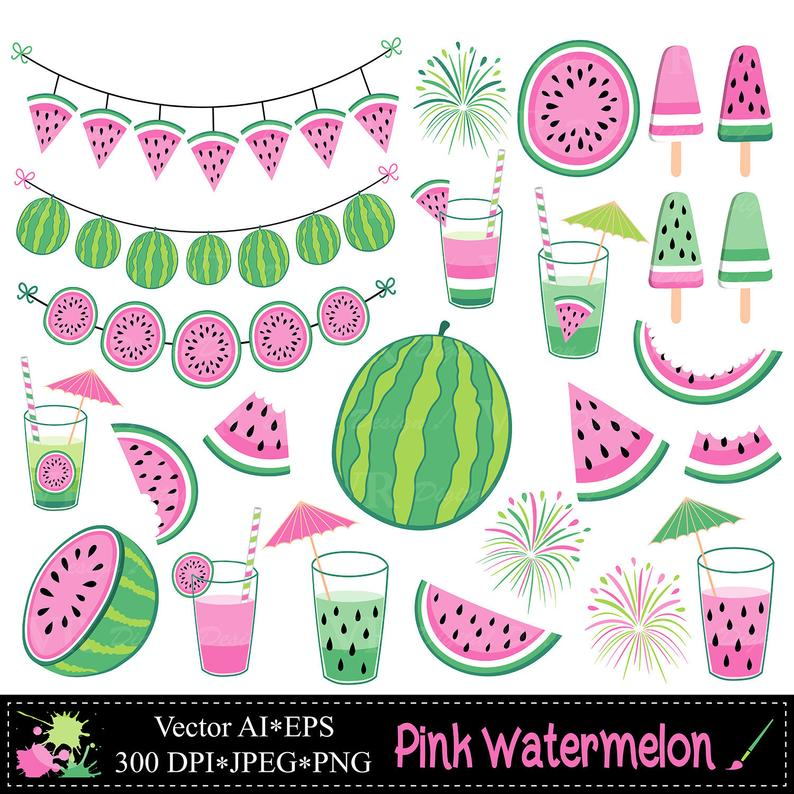 Watermelon clipart summer. Fruit illustrations pink watermelons
