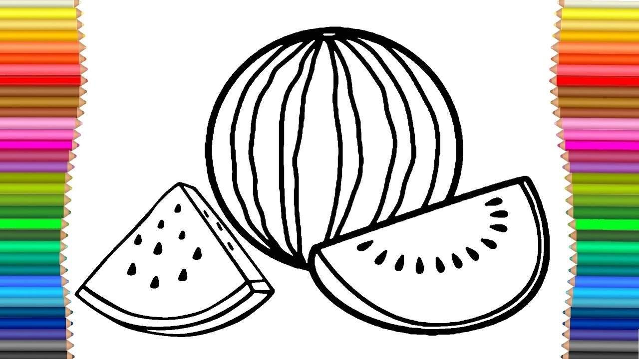 Rainbow drawing and painting. Watermelon clipart tarbuj