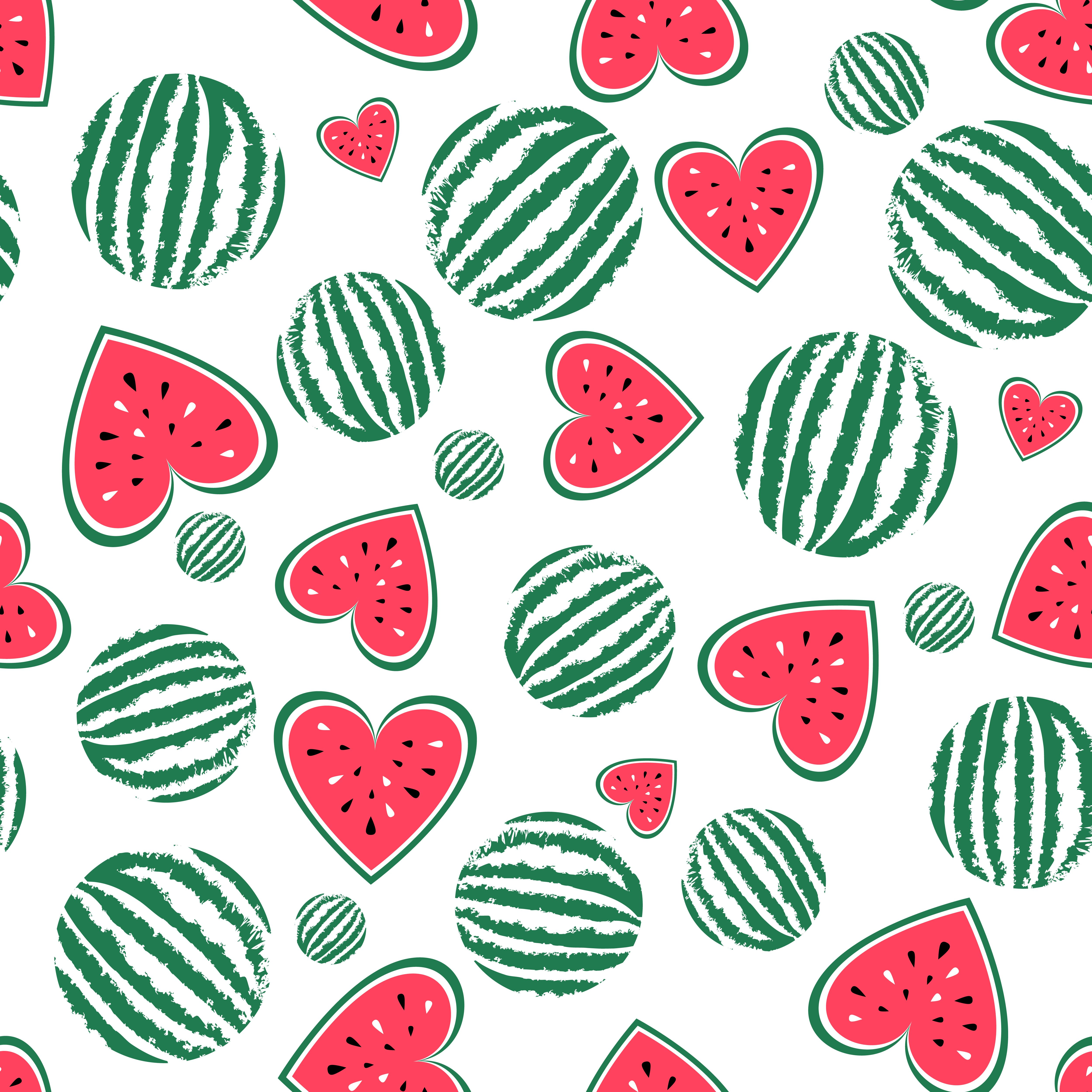 Watermelon clipart texture. Vector seamless pattern background