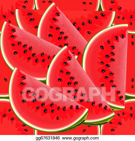 Watermelon clipart texture. Vector seamless of juicy