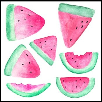 Watercolor clip art images. Watermelon clipart tropical