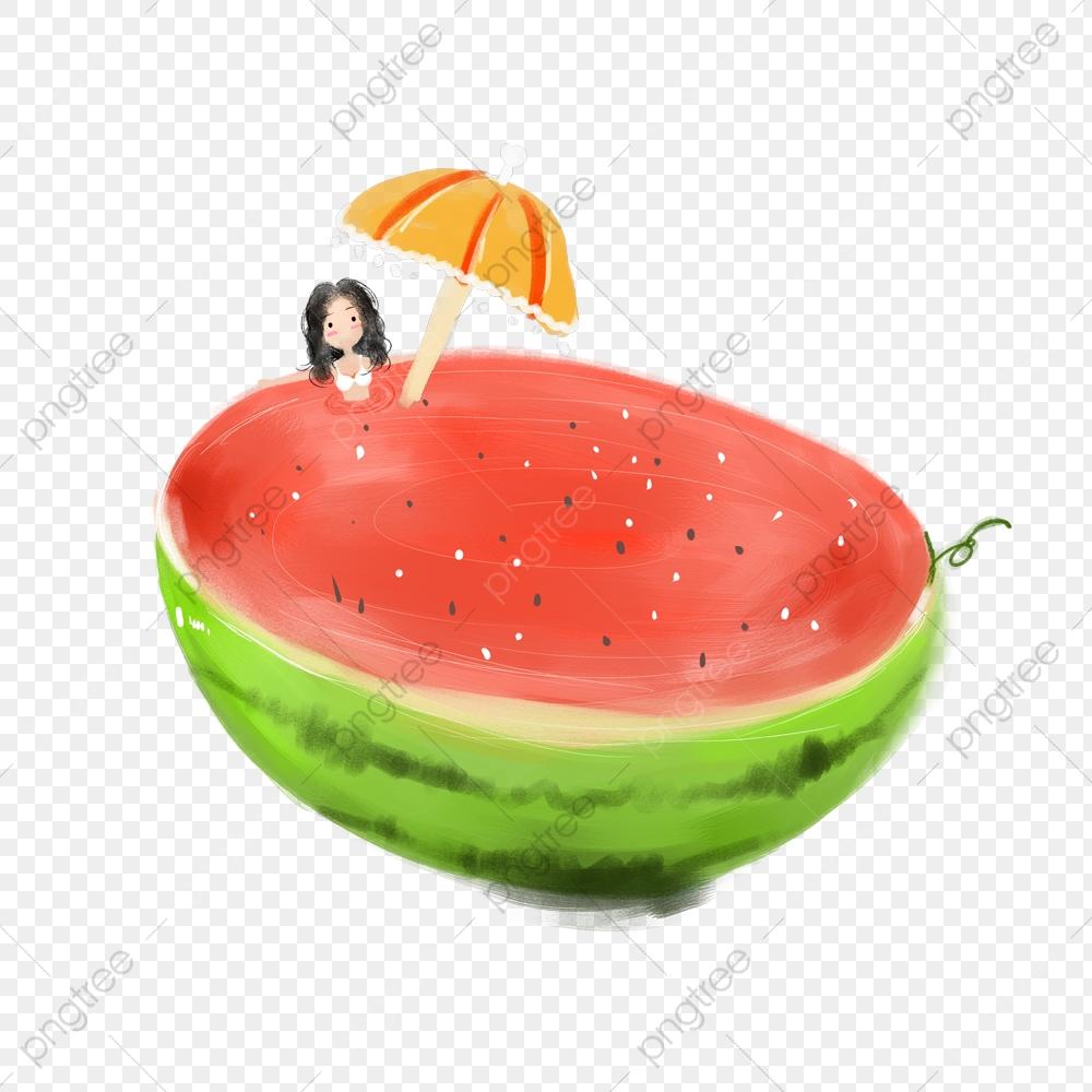 Watermelon clipart umbrella. Cartoon summer fruit delicious