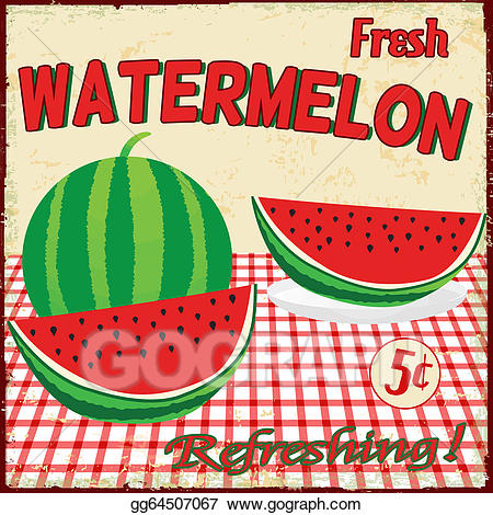 Vector illustration poster eps. Watermelon clipart vintage