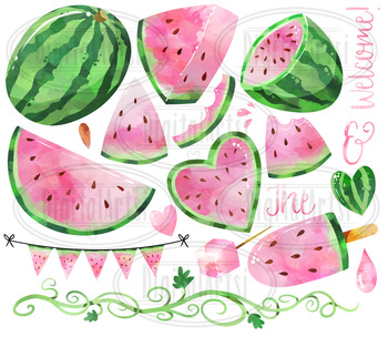 Pink . Watermelon clipart watercolor