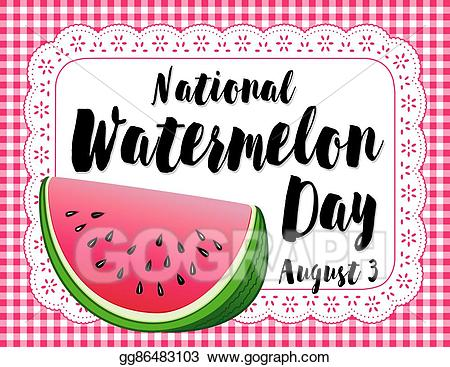 Watermelon clipart watermelon day. Vector art poster drawing