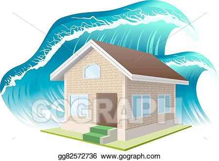 Vector stock property insurance. Waves clipart flood