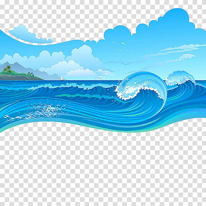 Waves clipart river wave. Blue and white cartoon