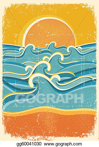Waves clipart sand. Vector art sea and