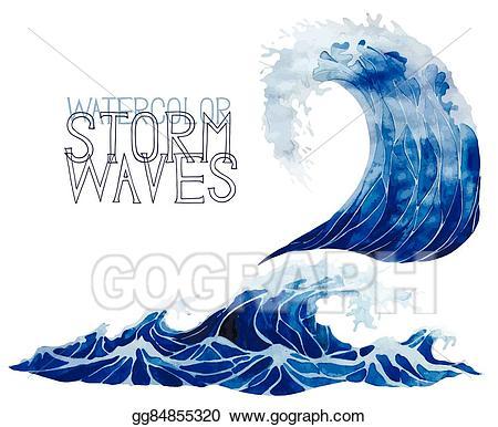 Waves clipart storm wave. Eps illustration watercolor set