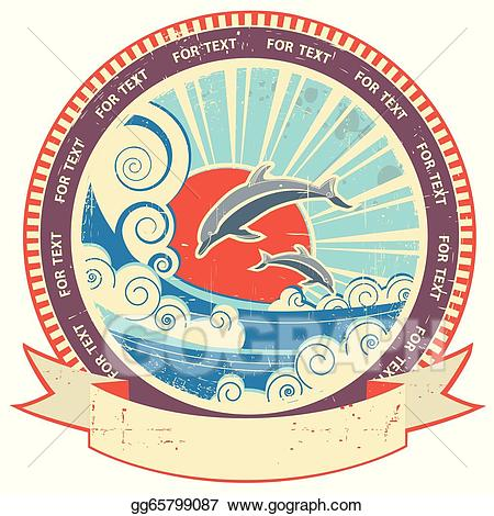 Vector dolphins in sea. Waves clipart vintage