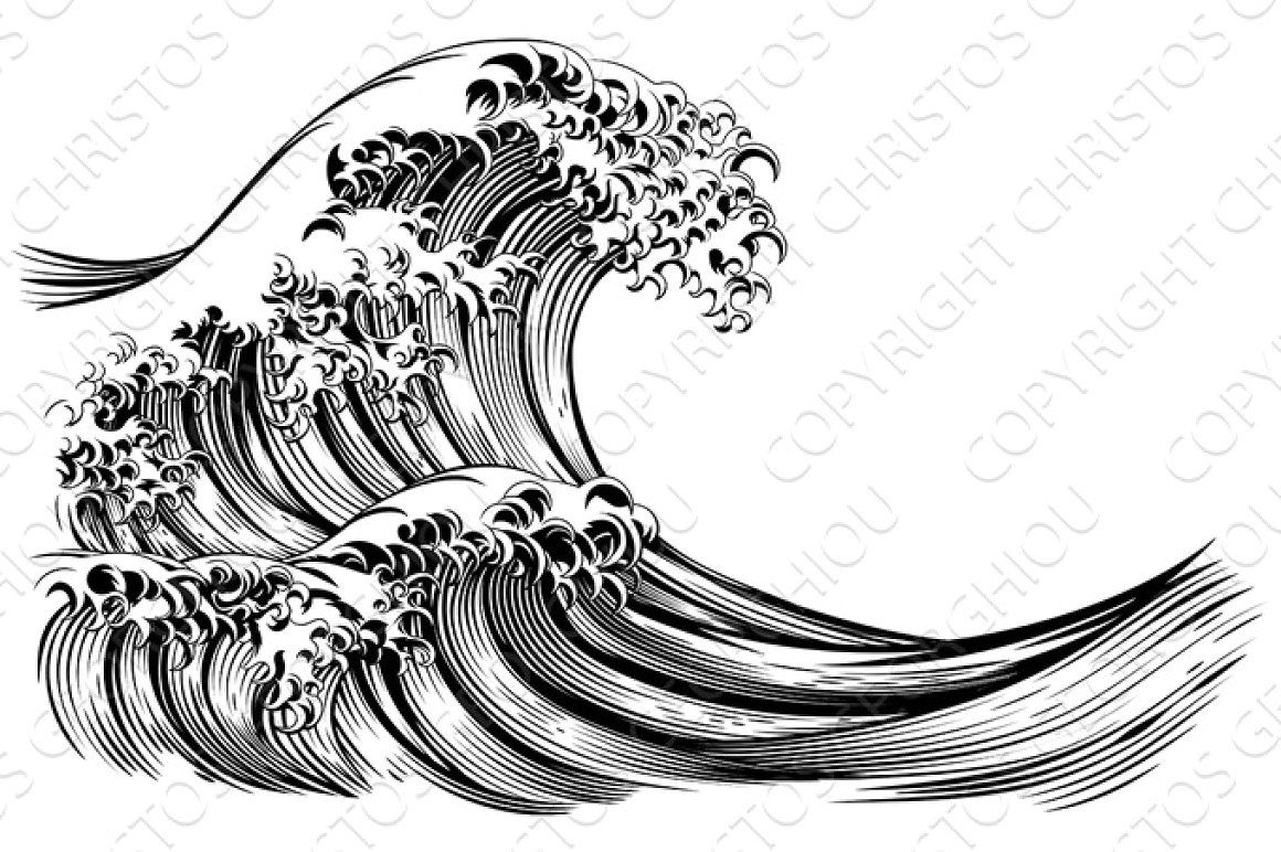 Great japanese style engraving. Waves clipart wave hokusai