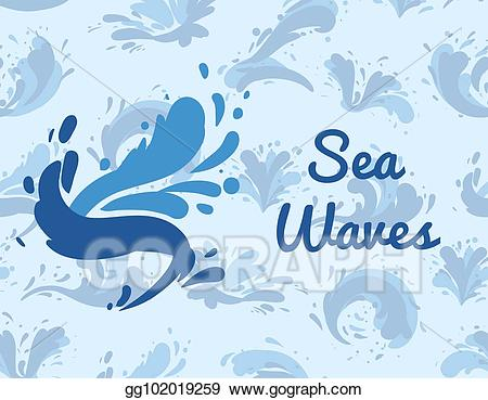 Eps illustration sea poster. Waves clipart wavy water