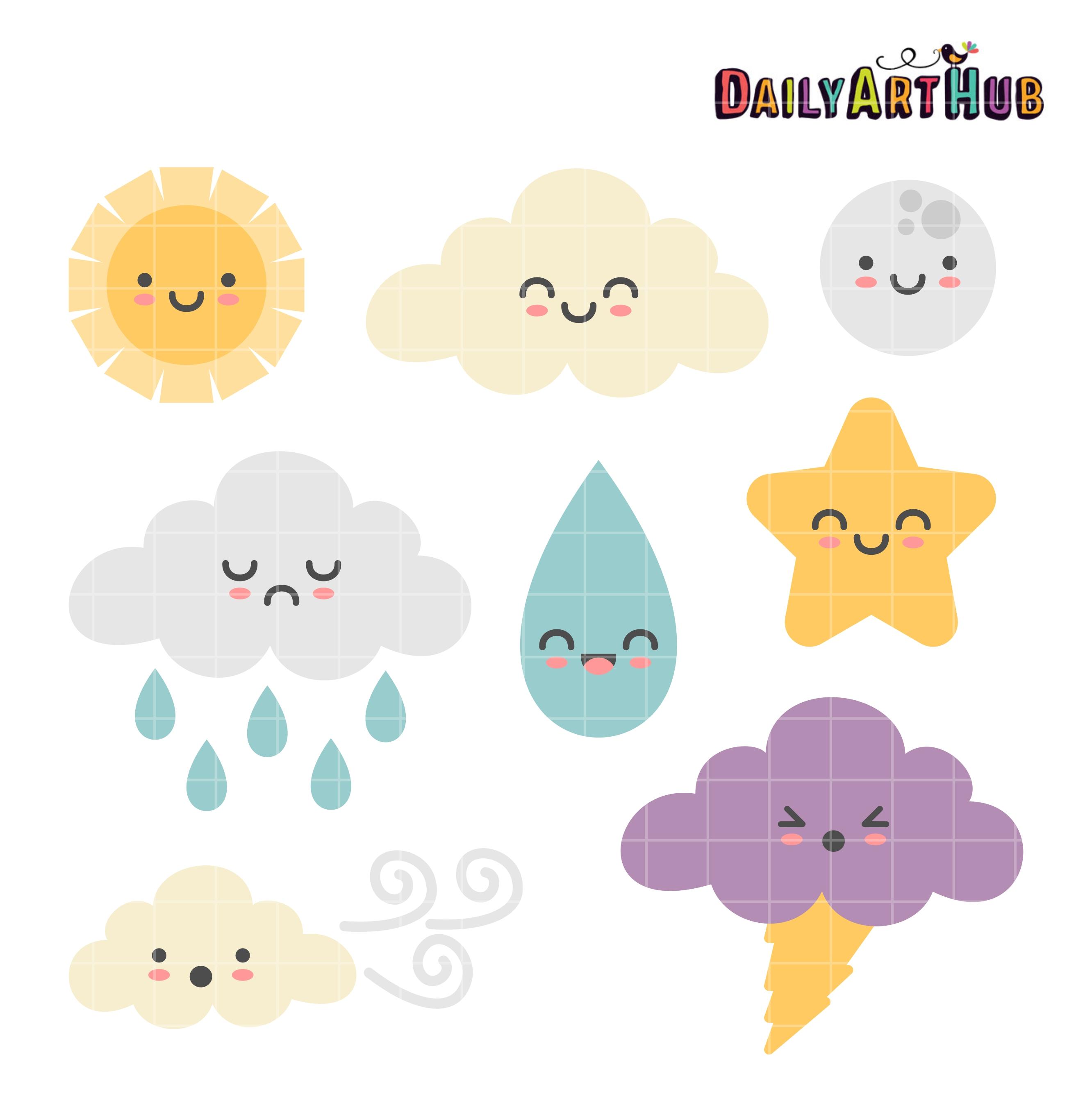 Weather clipart. Cute clip art set