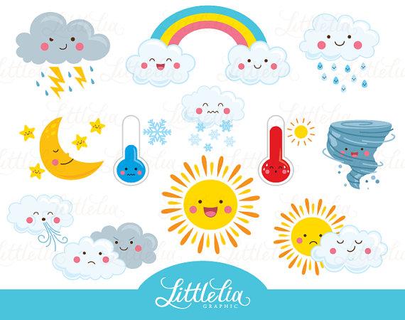 Weather clipart. Kawaii cute
