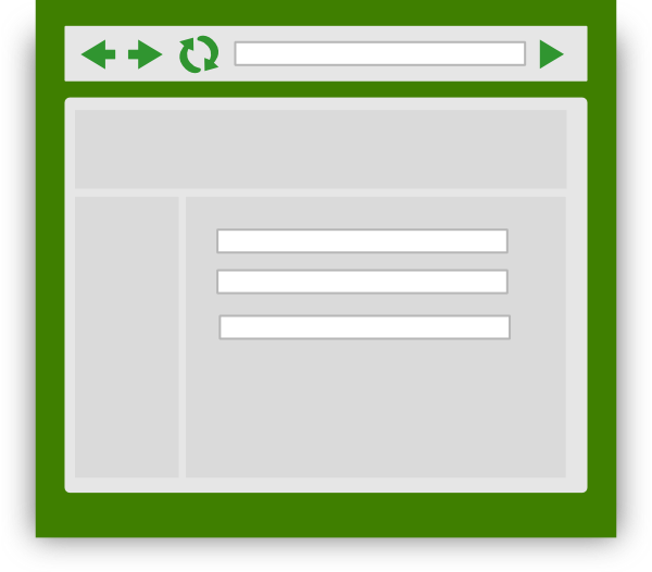 Web with green tint. Website clipart browser