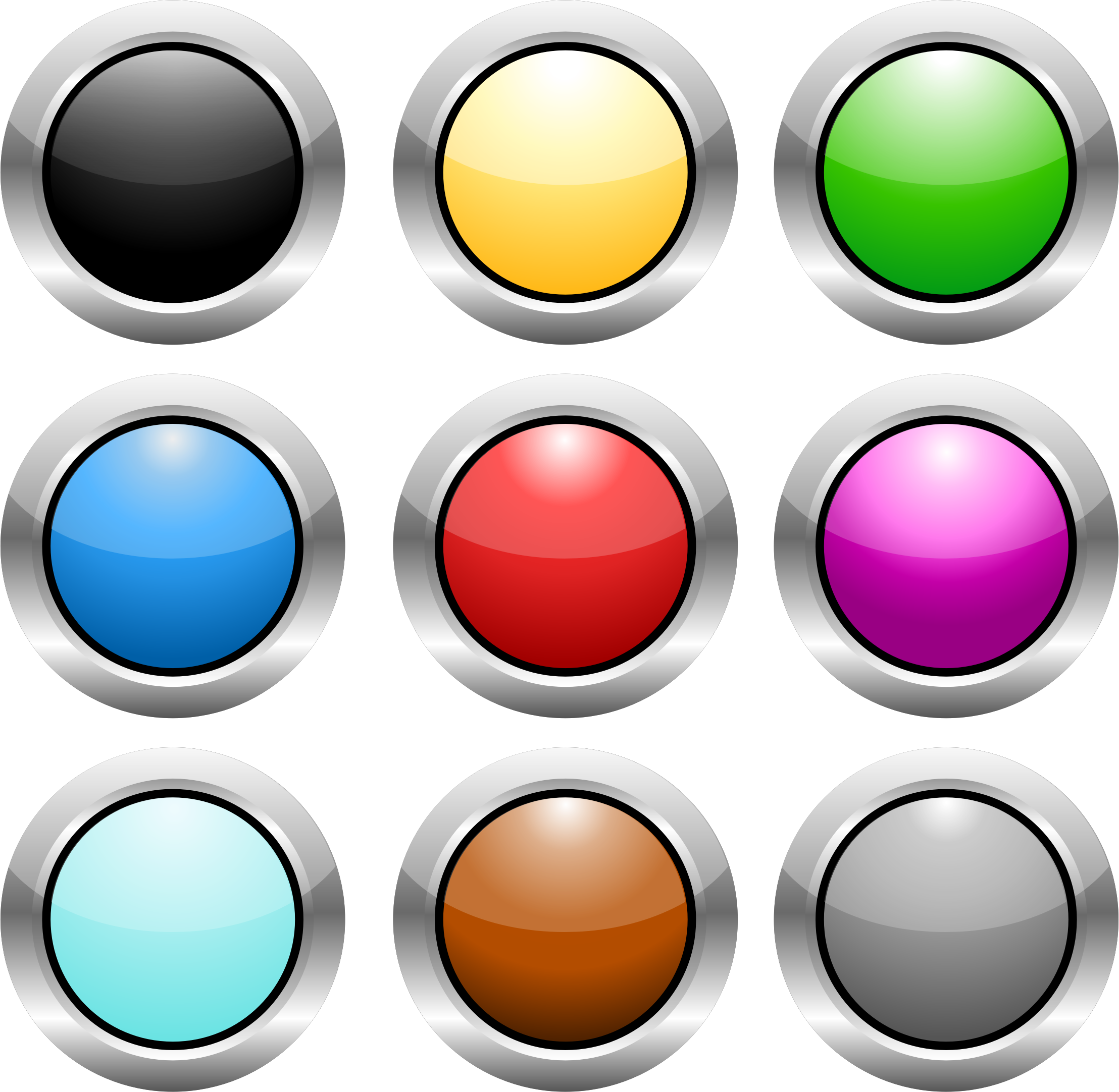 Buttons steel big image. Website clipart circle