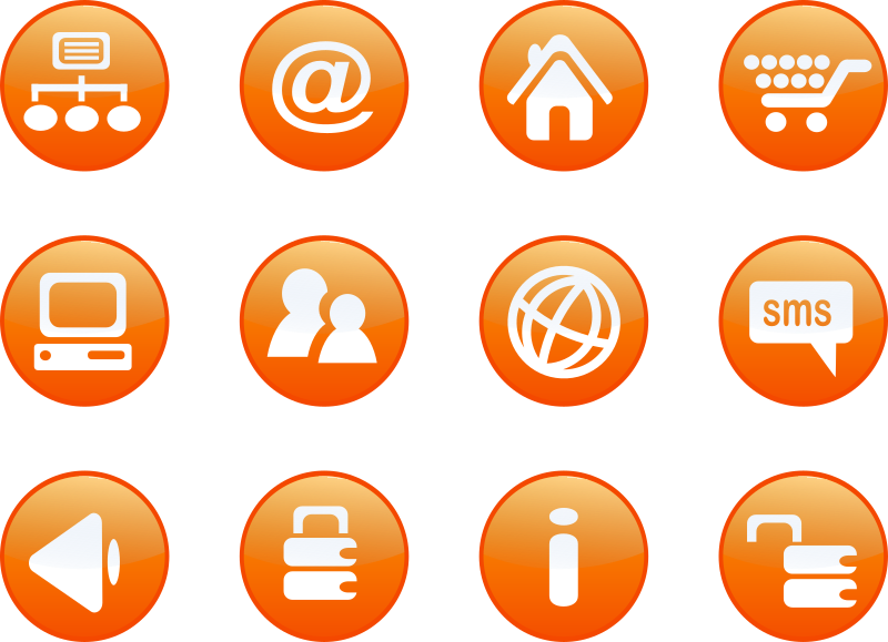 Website clipart vector. Icons orange web candy