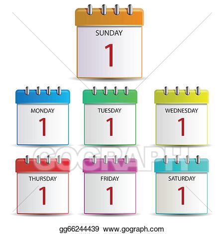 Wednesday clipart sunday calendar. Vector illustration days of