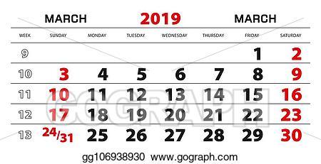 Vector wall for march. Wednesday clipart sunday calendar