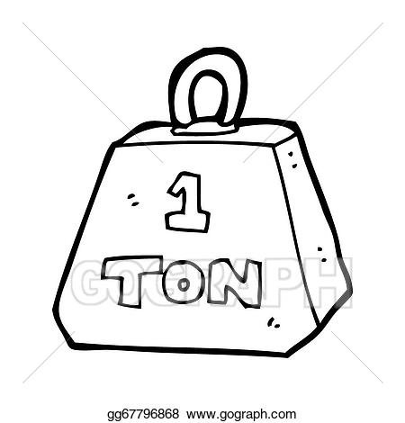 Weight clipart 1 ton. Stock illustrations cartoon one