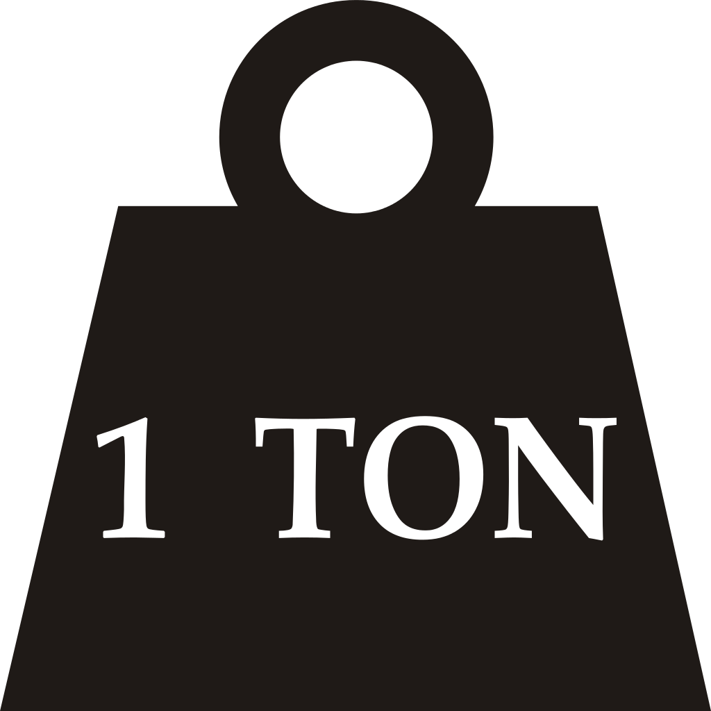 Fitxer one svg viquip. Weight clipart 1 ton