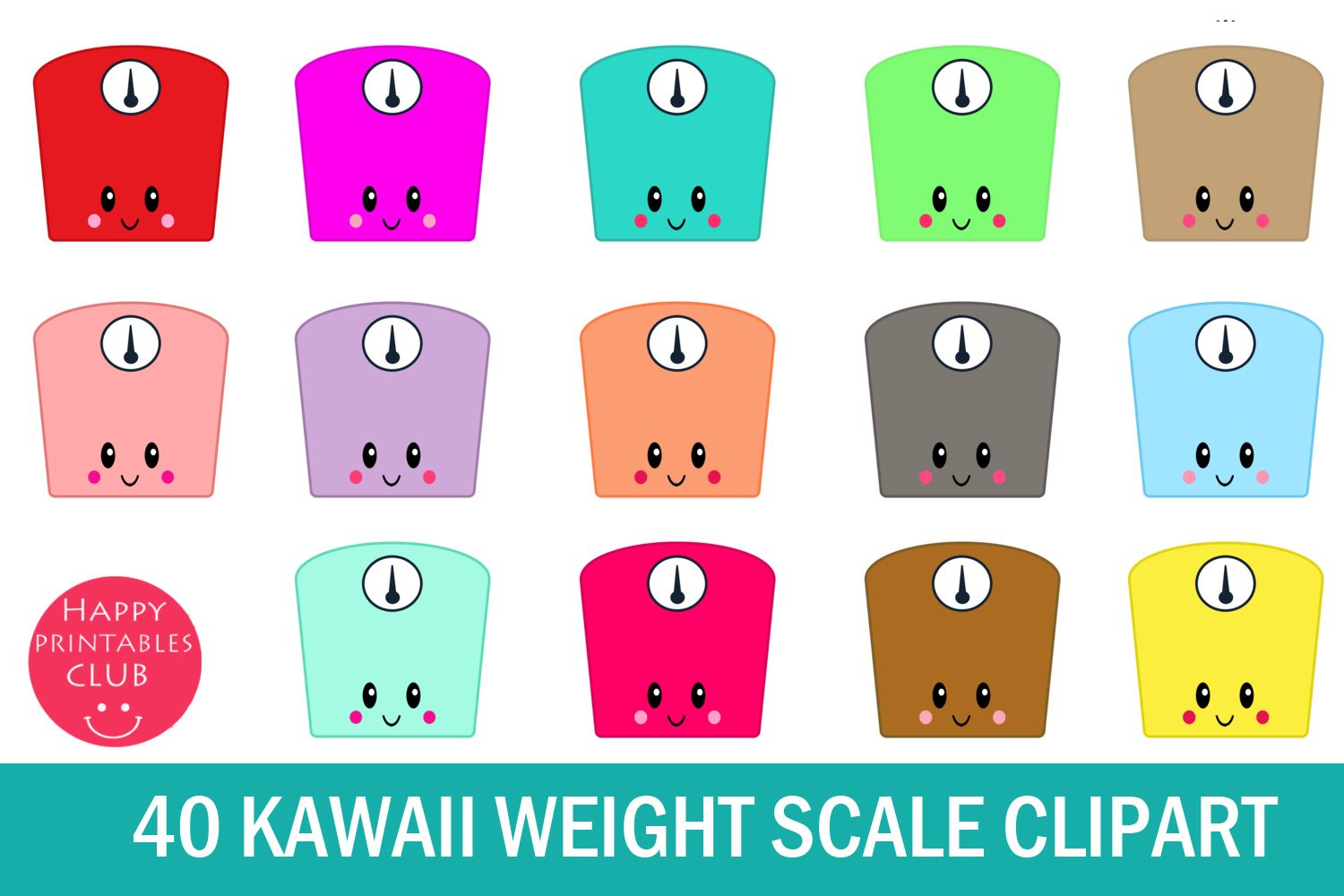 Kawaii scale design illustrations. Weight clipart cute