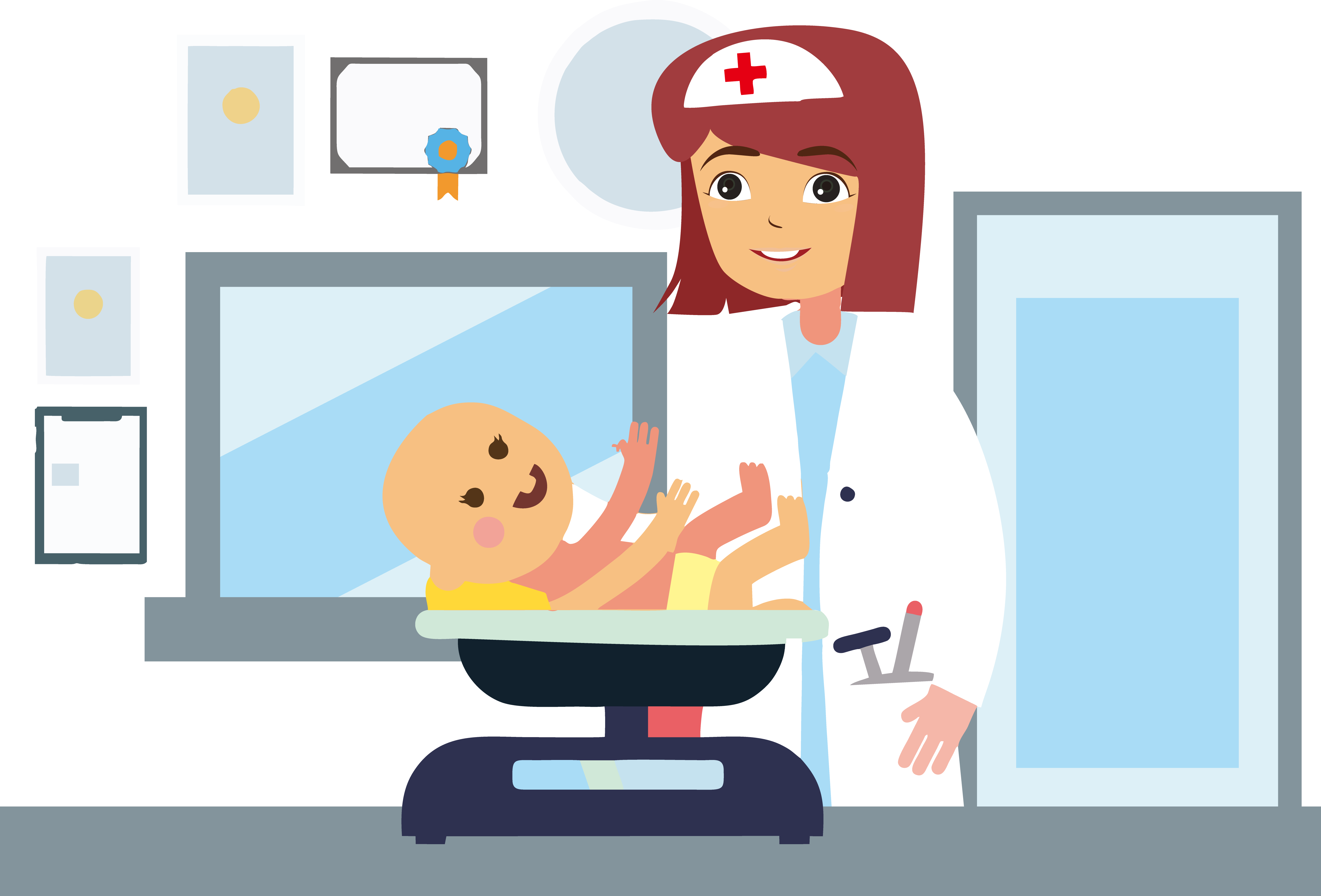 Infant physician pediatrics hospital. Weight clipart doctor scale
