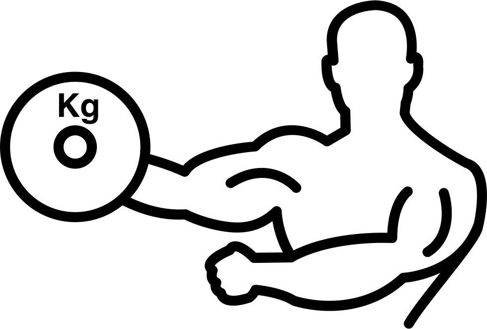 Bodybuilder carrying on one. Weight clipart hand weight