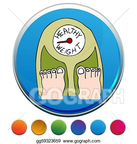 Weight clipart healty. Vector healthy scale button