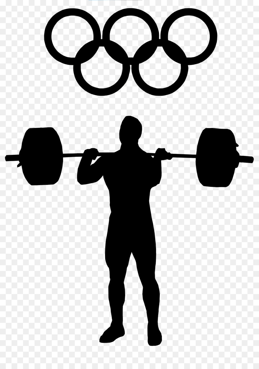 Fitness cartoon exercise silhouette. Weight clipart olympic barbell
