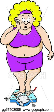 Vector art woman on. Weight clipart overweight scale