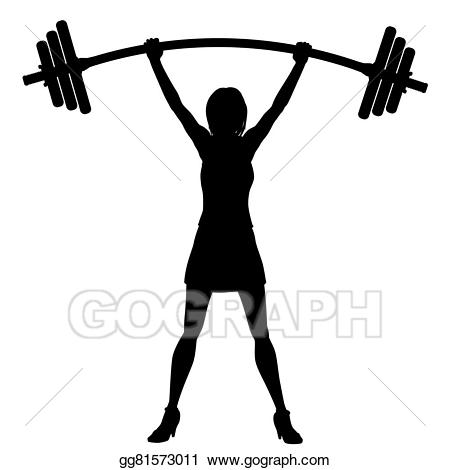 Vector stock of woman. Weight clipart power