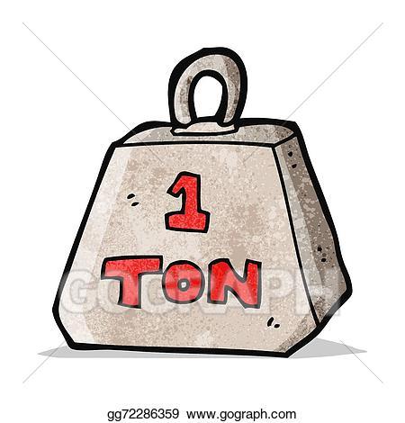 Weight clipart ton. Eps vector cartoon one
