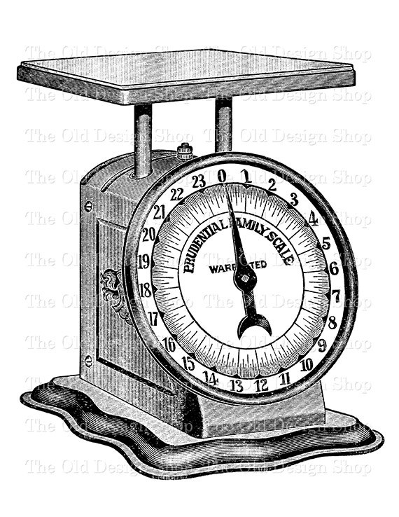 Weight clipart weighing scale. Vintage kitchen weigh clip