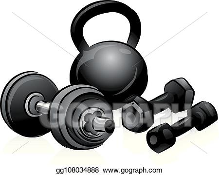 Vector art illustration . Weight clipart weight lifting equipment