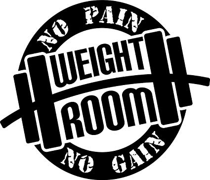 Weight clipart weight room. No pain gain quote