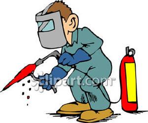 Of a welder working. Welding clipart cartoon