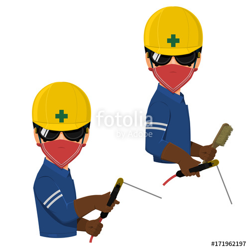 Welding clipart electrode holder. Welder with goggles is