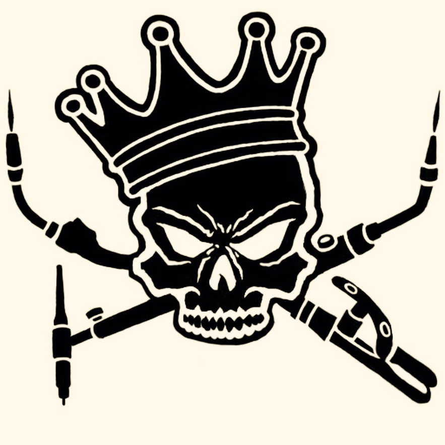 Skull art sticker font. Welding clipart logo