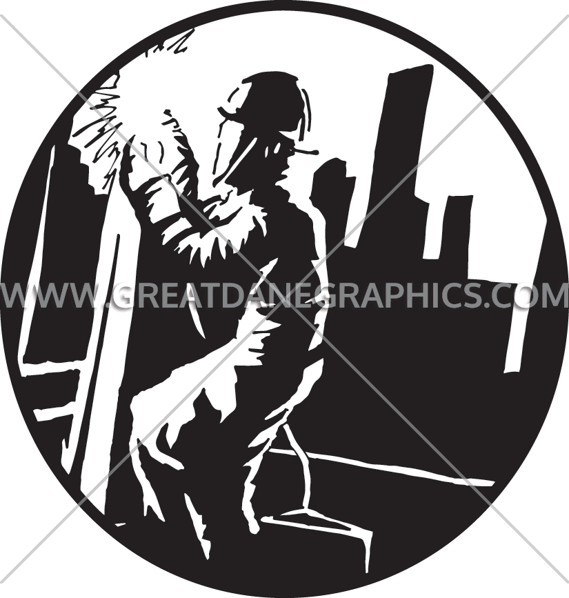 Welding clipart silhouette. High rise welder production