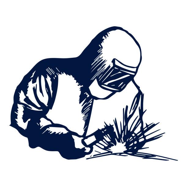 Welding clipart silhouette. Hand drawn symbol welder